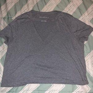 Gray V-cutout shirt
